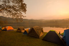 Camping tents by the lake Royalty Free Stock Photography
