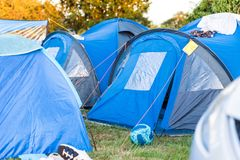 Camping tents medium shot in sunny british weather royalty free stock image