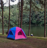 Camping tents near lake Stock Images
