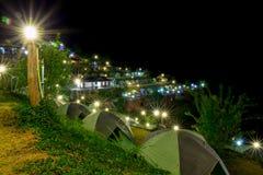 Camping tents at night. Stock Photos