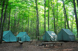 Camping Tents at Rustic Campground Royalty Free Stock Images