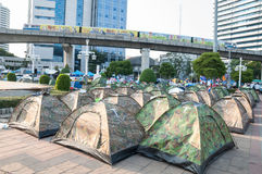 Camping tents's Unidentified Thai protesters for anti Government Stock Photo