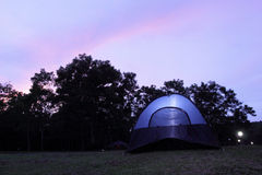 Camping tents set up on the ground Stock Photography