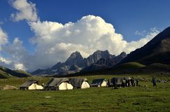 Camping tents at Sonamarg Kashmir India. Camping tents near the lakes at the Kashmir Great Lakes trek, which starts from Sonamarg to Naranag Village in Kashmir stock images