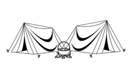 Camping tents with soup in bonfire in black and white vector illustration