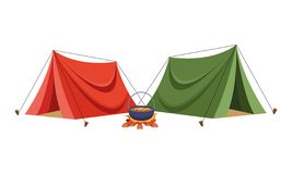 Camping tents with soup in bonfire royalty free illustration