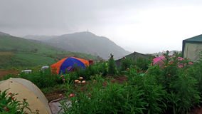 Camping tents at thailand hill, Phu thap boek Royalty Free Stock Photos