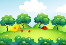 Camping tents at the top of the hill Stock Photo