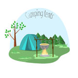 Camping with tents. Vector illustration of a trendy flat. The image of tents, a fire, boiler and forests Stock Images
