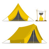 Camping tents. Yellow cartoon tent and set fire isolated. sports tourism in nature. Objects tents. Camping. The journey to the mountains and forests. Vector Stock Photos