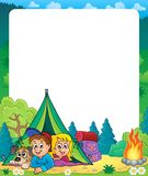 Camping theme frame 2 Royalty Free Stock Photos