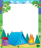 Camping theme frame 1 Stock Photos