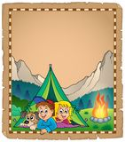 Camping theme parchment 2 Stock Photography