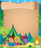 Camping theme parchment 3 Stock Image
