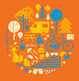 Camping themed composition Stock Photography