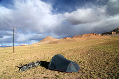 Camping on a Tibetan plateau Stock Photo