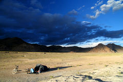 Camping on a Tibetan plateau Stock Image