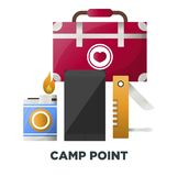 Camping or camp adventure tools vector icons. Camping tools of campfire matches box, first-aid kit and pocketknife or smartphone. Vector isolated flat icons for Stock Images