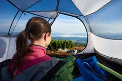 Camping on the top of mountain on bright summer morning royalty free stock photo