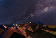 Camping on the top of the mountain under the clear milky way Stock Images