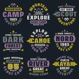 Camping and tourism badges Stock Photos