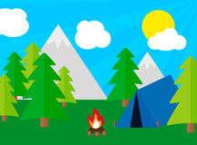 Camping tourism concept with stan and campfire Stock Photography