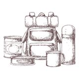 Camping and tourism equipment royalty free illustration