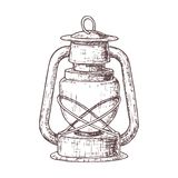 Camping and tourism equipment. Lamp for camping tourism, cartoon sketch illustration of travel equipment. Vector Stock Image