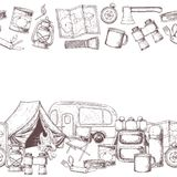Camping and tourism equipment. Seamless horizontal borders of travel equipment. Accessories for camping and camps. Sketch illustration of camping and tourism Stock Photography
