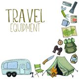 Camping and tourism equipment. Set of travel equipment. Accessories for camping and camps. Colorful sketch cartoon illustration of camping and tourism equipment