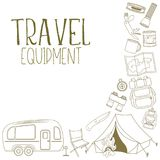 Camping and tourism equipment. Set of travel equipment. Accessories for camping and camps. Line icons of camping and tourism equipment. Vector Royalty Free Stock Photo