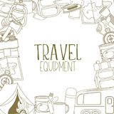 Camping and tourism equipment. Set of travel equipment. Accessories for camping and camps. Line icons of camping and tourism equipment. Vector Royalty Free Stock Image