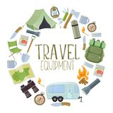 Camping and tourism equipment. Set of travel equipment. Accessories for camping and camps. Colorful cartoon illustration of camping and tourism equipment. Vector Stock Photos