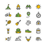 Camping Tourism Hiking Icon Set. Vector. Camping Tourism Colorful Hiking Icon Set. Vector illustration Royalty Free Stock Images