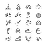 Camping Tourism Hiking Icon Set. Vector. Camping Tourism Hiking Outline Icon Set. Vector illustration royalty free illustration