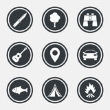 Camping, tourism icons. Fishing, guitar music. Royalty Free Stock Photos