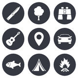 Camping, tourism icons. Fishing, guitar music. Camping, tourism icons. Fishing, campfire and tent signs. Guitar music, knife and binoculars instruments. Gray Royalty Free Stock Photography