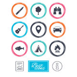 Camping, tourism icons. Fishing, guitar music. Royalty Free Stock Photography