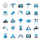 Camping and tourism icons Royalty Free Stock Photo