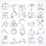 Camping and tourism icons Stock Images