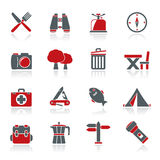 Camping, tourism and travel icons Stock Photography