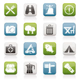 Camping, tourism and travel icons Stock Photo