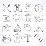 Camping, tourism and travel icons Stock Image