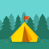 Camping tourist tent on forest landscape vector illustration Stock Photography