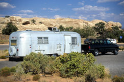 Camping trailer. Pickup truck with old-fashioned camping trailer royalty free stock image
