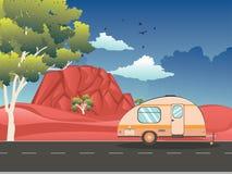 Camping trailer on desert road. Vintage camping trailer on the road in the red desert landscape royalty free illustration