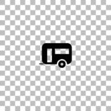 Camping trailer house icon flat royalty free illustration