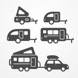 Camping trailer set Royalty Free Stock Images