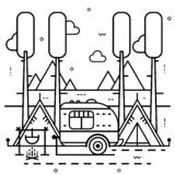 Camping trailer with tent and bonfire on nature background. Line art illustration. Camping trailer with tent and bonfire on nature background. Vector line art royalty free illustration