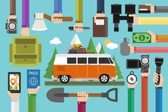 Camping travel design flat set with minibus. Vector illustration Royalty Free Stock Photography
